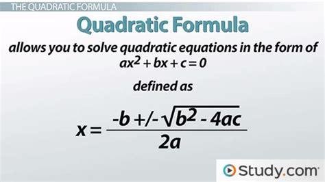 Unit Credit Formula Solving Problems Using The Quadratic Formula Lesson Transcript Study
