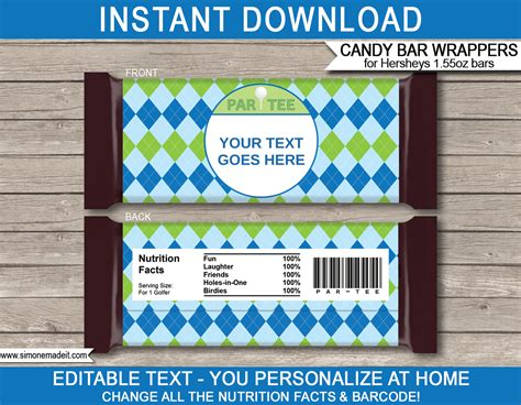Golf Hershey Candy Bar Wrappers Personalized Candy Bars Wrapper Labels Templates