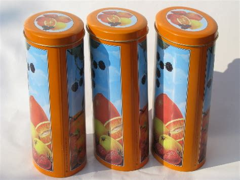60s vintage striped metal kitchen canisters retro canister set with 60s 70s italian metal kitchen canisters fruit print tins