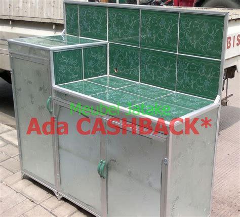 Meja Aluminium jual meja dapur meja kompor 3 pintu rak piring model l