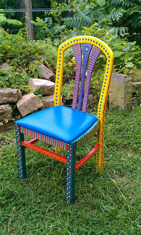 colorful furniture hand painted furniture chair colorful crazy yellow back free
