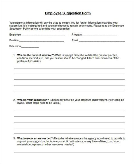 sample employee suggestion forms   word