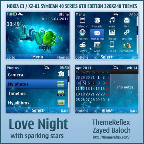 themes love nth love night sparking stars theme for nokia c3 x2 01