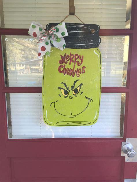 mason jar grinch christmas door hanger cut  wood