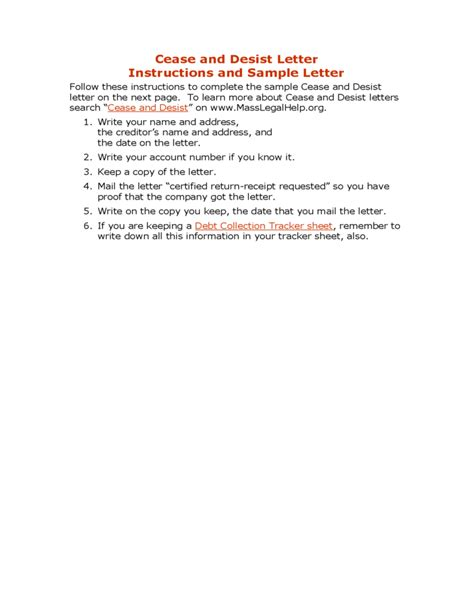 cease and desist letter template for debt collectors cease and desist letter free
