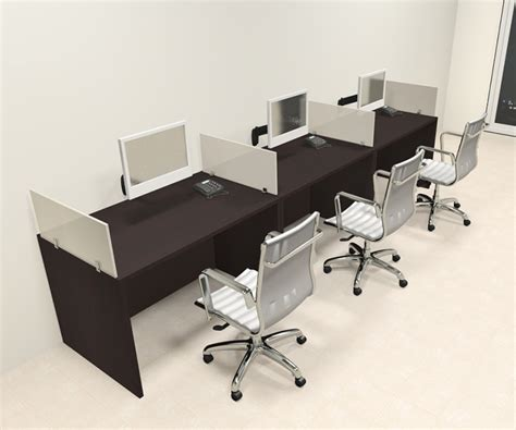 three person modern divider office workstation desk set
