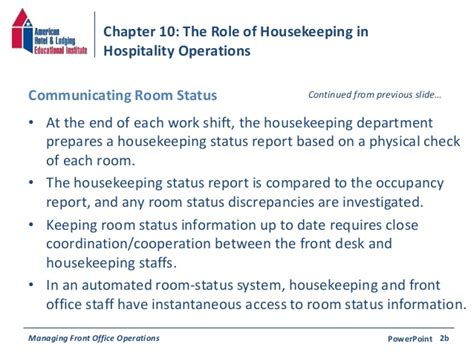 housekeeping room status chapter 10 the of housekeeping in hospitality operations