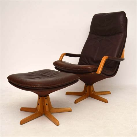 armchair with stool danish retro leather swivel armchair stool vintage 1970