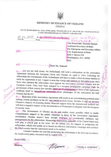 Finance Ministry Letter Russian Site Publishes Ukrainian Finance Minister Letter