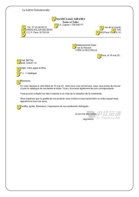 Presentation Normalisee De La Lettre Commerciale lettre commercial
