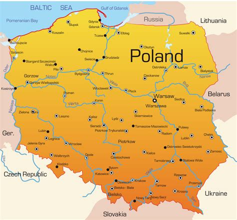 printable map of poland printable maps poland map with cities blank outline map of poland