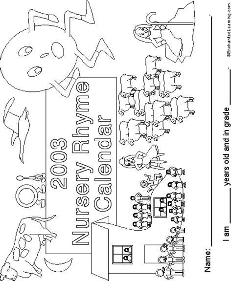 Calendar Rhyme Rhymes Calendar Cover 2003 Enchantedlearning