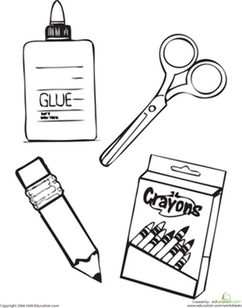 free coloring pages school supplies school supplies worksheet education com