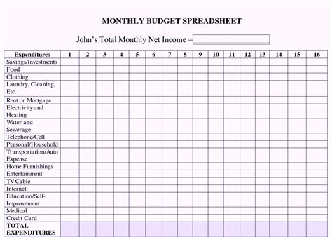 Excel Spreadsheet Templates Budget by Printable Excel Monthly Budget Template Worksheet