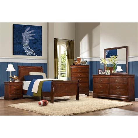 twin bedroom furniture sets mayville brown cherry traditional 6 piece twin bedroom set