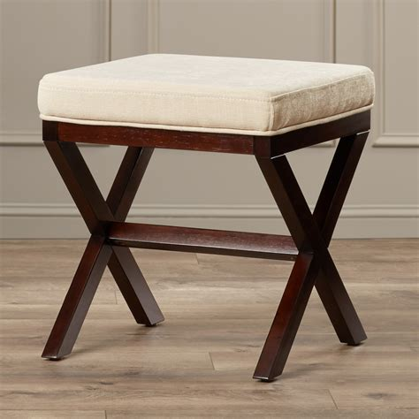 wooden vanity bench charlton home milford wood vanity stool reviews wayfair