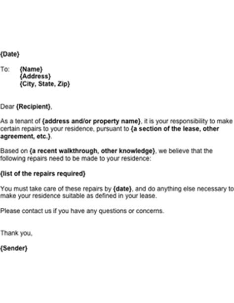 Exle Of Request Letter For Repair Request For Tenant Repairs Template