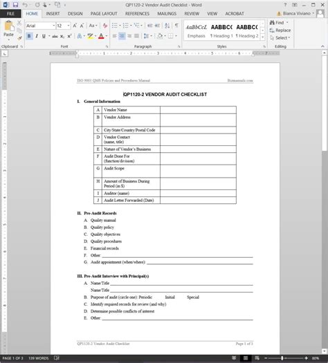 supplier audit schedule template vendor audit checklist iso template