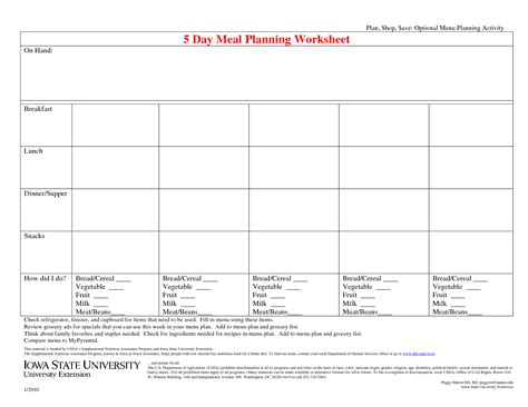 blank meal planner sheets 16 best images of a healthy meal plan worksheet diet