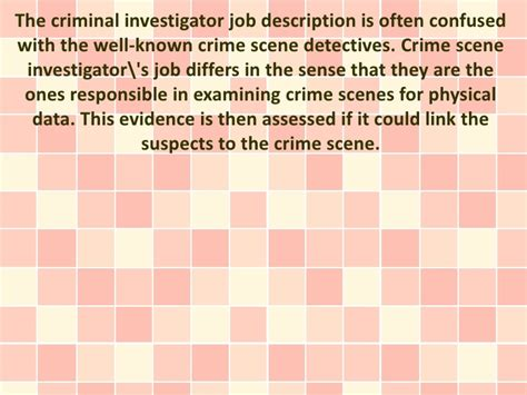 Detectives Description by A Look Into The Criminal Investigator Description