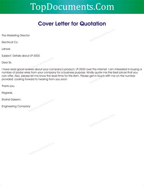 Letter Quotation cover letter for price quote