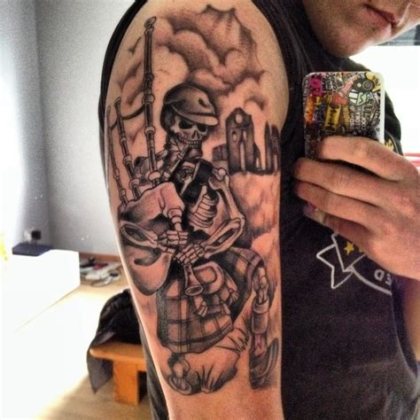 scottish half sleeve tattoo designs terrific grey ink scottish skeleton piper on half