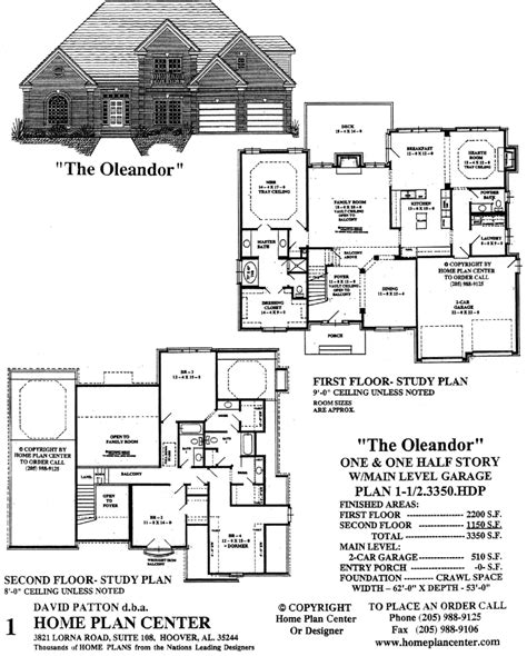 one and a half story house plans home plan center 1 1 2 3350 hdp oleandor