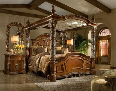 bed with poles rustic interiors bring the atmosphere of the village to