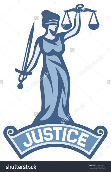 Interest Of Justice a goddess of justice label stock vector illustration