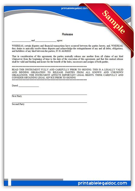 Free Printable Release Form (GENERIC)
