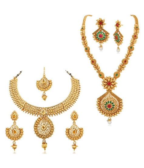 rg fashions jewellery golden necklace set  women pack