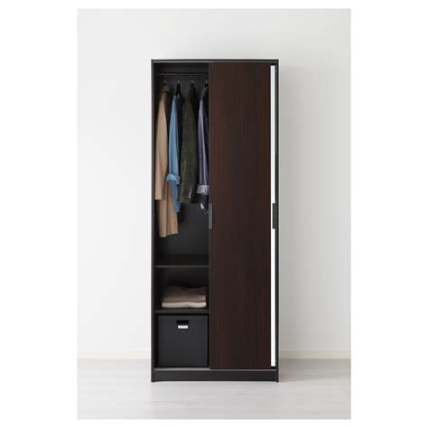 Brown Wardrobe With Mirror Trysil Wardrobe Brown Mirror Glass 79x61x202 Cm Ikea