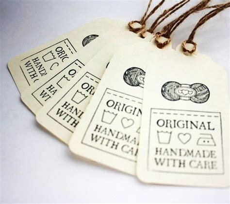 Handmade Labels For Crochet - gift tags original handmade with care set of 5 for knit