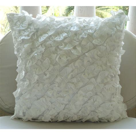 Designer Pillows by Designer Ivory Pillow Cases Vintage Style Ruffles Shabby Chic