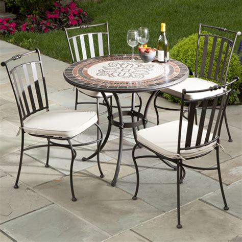 5 Piece Orvieto Mosaic Outdoor Cafe Set From Alfresco Marble Patio Furniture