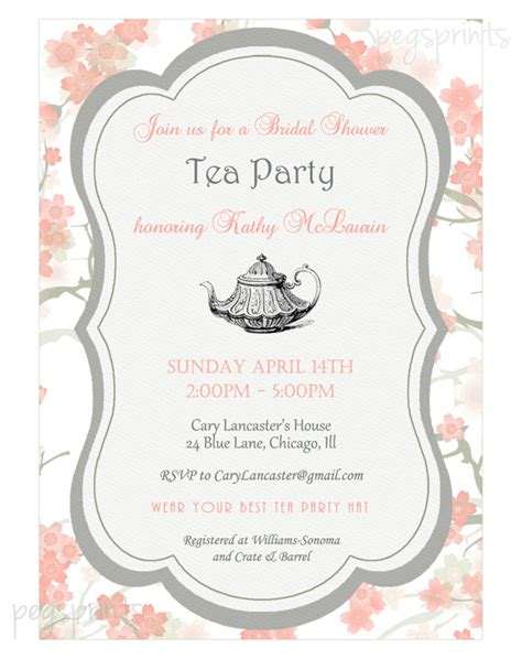 kitchen tea party invitation ideas floral bridal shower tea party invitation printable