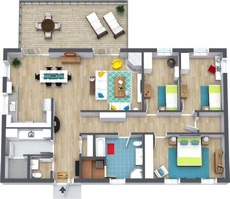 Open Kitchen Living Room Floor Plans 3 bedroom floor plans roomsketcher