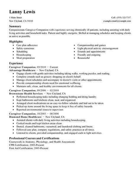 in home caregiver resume sles caregivers companions resume exles wellness resume