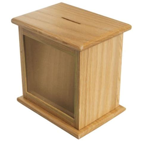 nice wooden suggestion box front window charity box