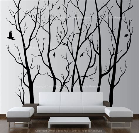 vinyl wall decal forest tree large wall decor vinyl tree forest decal sticker choose size and color ebay