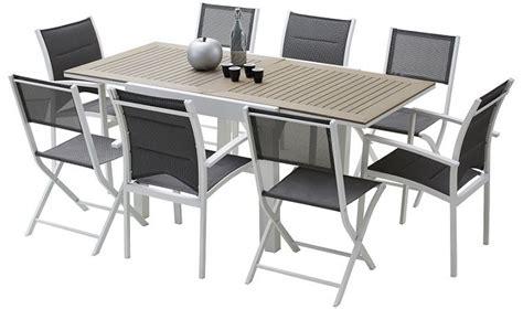 salon de jardin polywood table de jardin rallonges aluminum et bois 4 fauteuils et 4 chaises