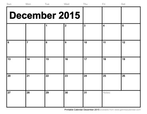 Printable Monthly Calendar For December 2015 | printable calendar december 2015