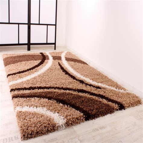 teppich rund braun beige shaggy teppich hochflor langflor gemustert in braun beige