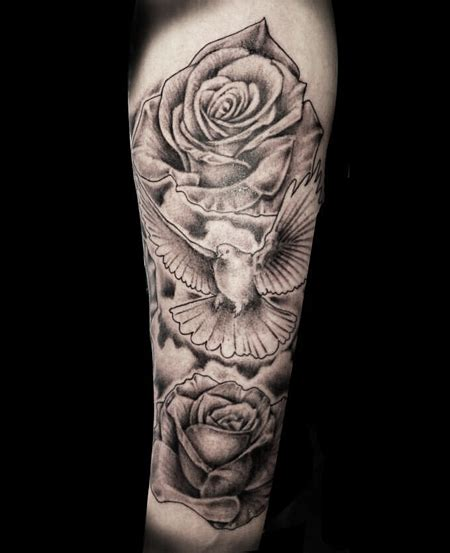 rose dove tattoo 35 dove tattoos with roses