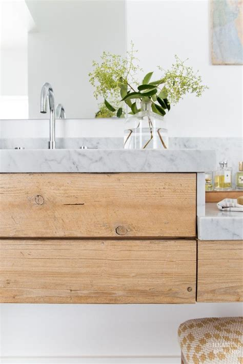 Grove House: Salvaged Wood and Marble Vanity Bathroom