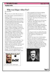 edgar allan poe biography worksheet the raven by edgar allan poe questions literary elements