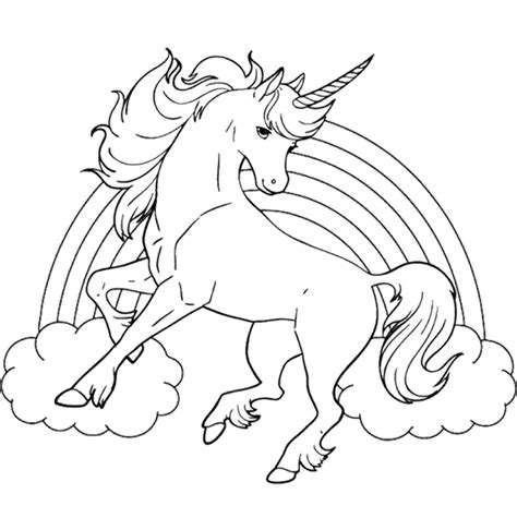 unicorn pony coloring pages unicorn horse with rainbow coloring page for kids