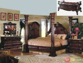 Wood Canopy Bedroom Set King Cherry Poster Luxury Canopy Bed W Leather Headboard