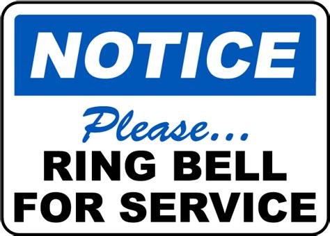 How To To Ring Bell For Bathroom by Ring Bell For Service Sign By Safetysign G1892