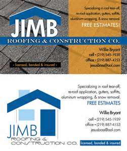 business card design for roofing company